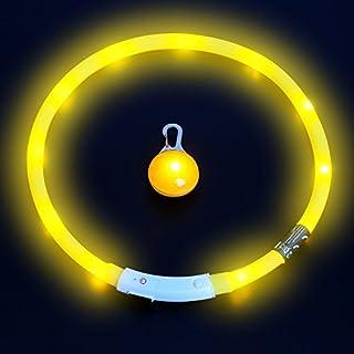 amathings LED Visio Mega Set Edition 2017 Halsband In Gelb Und LED Clip Deluxe Für Hunde Und Katzen Universell Kürzbar, Halsumfang Bis 55 cm Gelb