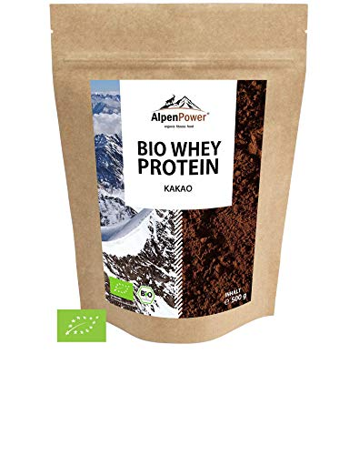 ALPENPOWER | BIO WHEY Protein Kakao | Ohne Zusatzstoffe | 100{97d87d77bcf42856bfe44f425c9a143e1a897ce32541ce431590f6fbaa313da6} natürliche Zutaten | 7 Sorten | Bio-Milch aus Bayern und Österreich | Superfood Kakao | Hochwertiges Eiweiß | Low Carb | 500 g