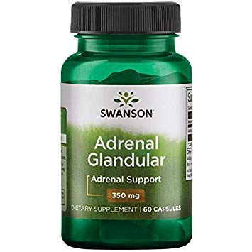 Swanson - Raw Adrenal Glandular 250mg, 60 capsules - Unverarbeitetes Nebennieren Glandular Kapseln - Reine und Natüraliche Drüsengewebe Nebennierenrinde von Rindern -