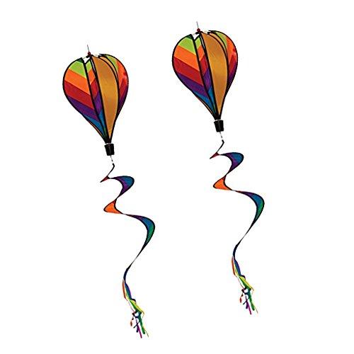 FLAMEER 2 Stück Windspiel Ballon Windrad Heißluftballon mit fließenden Schwanz - 140 * 25cm - Mehrfarbig