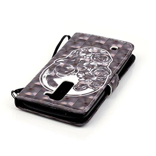 Custodia per iPhone 5, iPhone 5S, iPhone SE Custodia, con protezione per lo schermo in vetro temperato], fatcatparadise (TM) [Cavalletto] antigraffio Cover posteriore morbida in silicone, Colorful 3d  Teschio