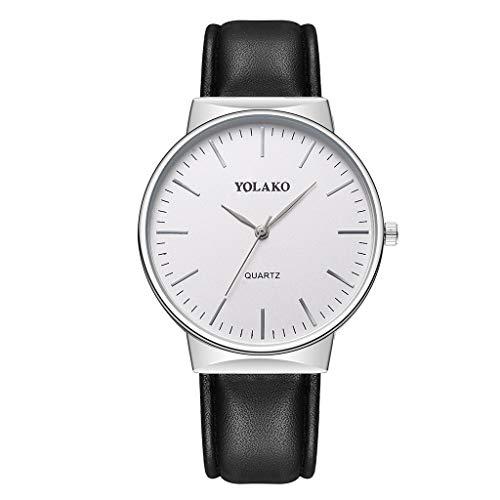 Knowin Uhren Neu Herren Casual Quarz Lederband Newv Armbanduhr Analoge Armbanduhr Damenuhr Business Schwarz Weiss Zifferblatt Armbanduhr mit PU Armband -