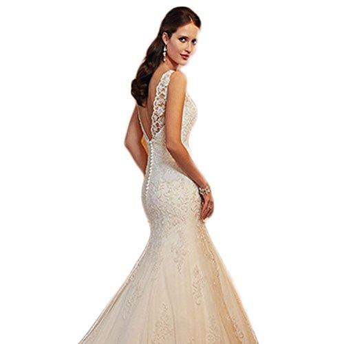 WeWind Damen Fishtail Brautkleid mit Spitze Tüll Rückenfreie Hochzeitskleider Schleppe (S)