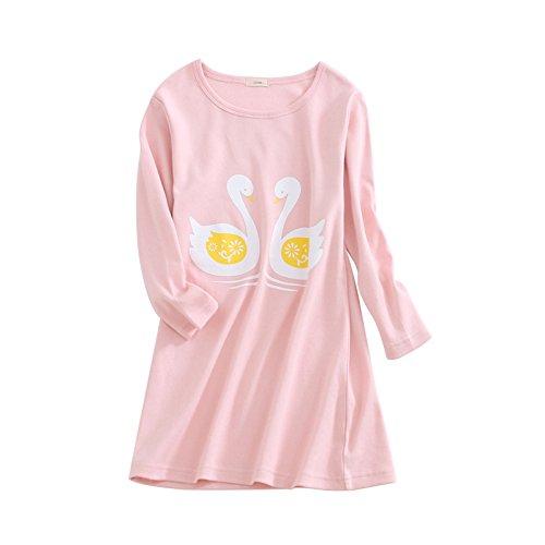 HOYMN Schwan Nachthemden für Mädchen Langarm Nachthemd für Herbst-Winter 100% Baumwolle Grün (9-10 Jahre, Cygne Rose)