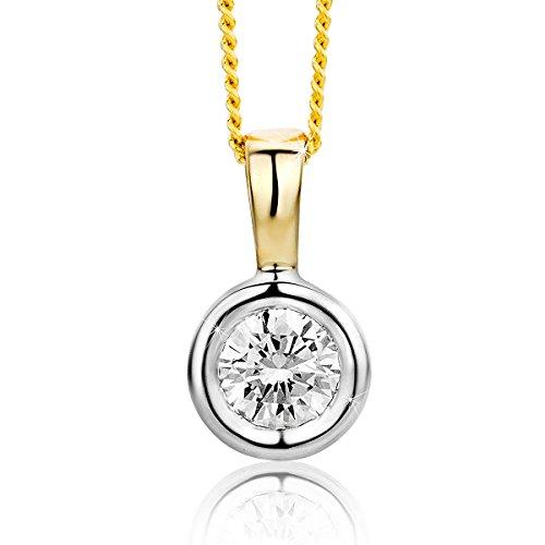 Orovi Damen Solitär Halskette mit Diamant Zweifarb/Weißgold und Gelbgold Kette 9 Karat (375) Brillianten 0.25crt, Goldkette