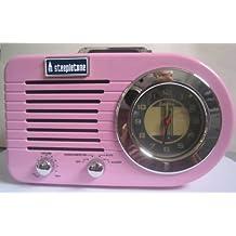 Retro Style MW / FM Alarm Clock Radio with MP3: USB / SD Playback - Pink by Steepletone