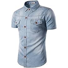 YCHENG Camisa Vaquera Pecho Bolsillo Cierre de Botón Manga Cortas Slim Fit para Hombre