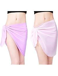 308b613285 Metyou 2Pcs Women Swimsuit Wrap Dress Skirt Swimwear Chiffon Scarf Beach  Sarong Bikini Cover up Short