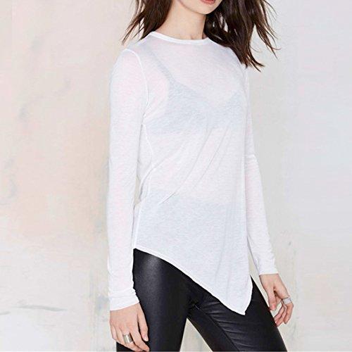 QIYUN.Z Weisse Lange Huelse Unregelmaessigen Rand O Ausschnitt Durchsichtigen Bodenbildung Frauen-T-Shirts Oberteile Weiße