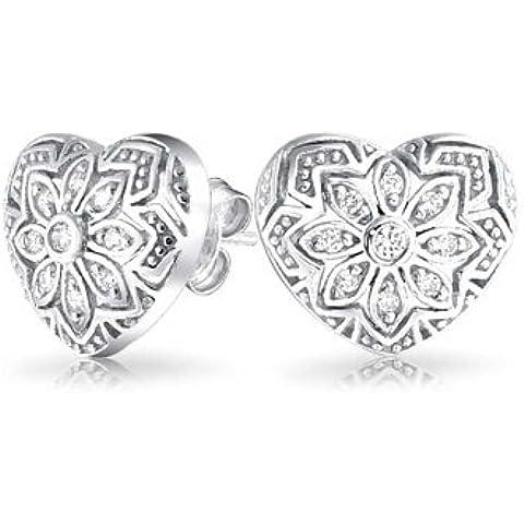 Bling Jewelry 925 Sterling Silver del cuore del fiore CZ Orecchini - Bling Fiore