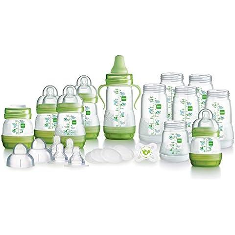 MAM - Juego de biberones (biberones autoesterilizantes, anticólicos, tetinas y chupete), color verde