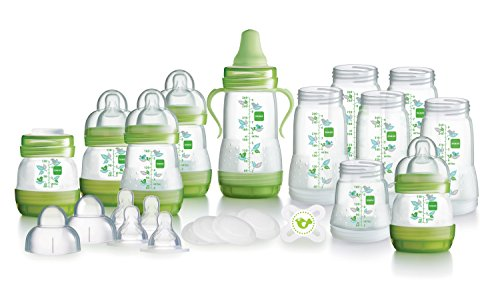 MAM Large Bottle Starter Set including Anti-Colic Self Sterilising Bottles, Bottle Teats and Starter Soother (Green) 41vCv0ZW1UL
