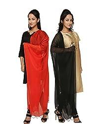 Dupatta Bazaar Womens Dupatta (Pack of 2)(CD0038_Multi-Coloured_Free Size)