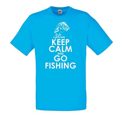 N4696 Männer T-Shirt Fishing apparel,fishing shirts (Large Blau Mehrfarben)