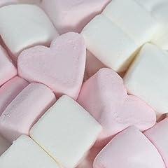 Idea Regalo - WeddingTree Cuori di marshmallow 1 kg - dolci morbidi per San Valentino o per la festa della mamma - migliore schiuma di zucchero - rosa e bianco - senza grassi e senza glutine