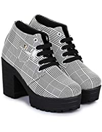 Glamgo Ladies Boots - Block Heel Ankle Length Laces Shoes for Women.
