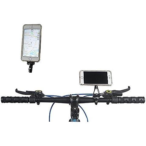 Nuovo universale (TM) girevole 180gradi in lega di alluminio nero e grigio colore resistente clip manubrio supporto per bicicletta supporto supporto per iPhone Samsung cellulare GPS MP4MP5, Black