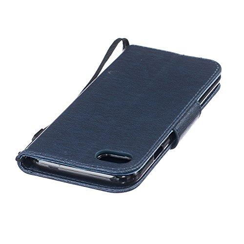 Housse iPhone SE / 5 / 5S, SpiritSun Etui en PU Cuir Portefeuille Coque pour Apple iPhone SE / 5 / 5S Plume et Oiseaux Modèle Case avec Fonction Support Stand - Gris Bleu Marin