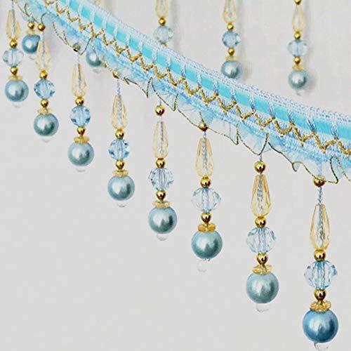 Cinta de encaje trenzada con flecos de borla para cortinas de mesa, para costura decorada azul celeste