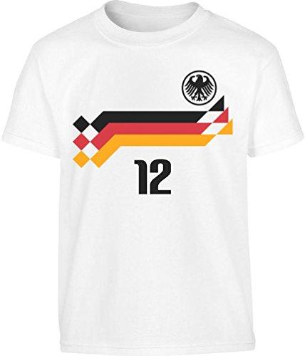 Deutschland Retro WM 1990 Trikot Fanshirt WM 2018 Größen 86-128 Kleinkind Kinder T-Shirt - Gr. 86-128 6T Weiß (Kleinkinder Für Trikots)