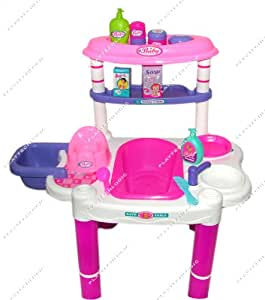 Playtech Logic PL2012 Childrens Baby Doll Bathing Feeding Table Chair Role Play Set Toy 61cm