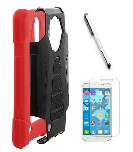 Luckiefind Schutzhülle für Motorola Moto E5 Play/Moto E5 Cruise, Premium Hybrid-Schutzhülle mit Standfunktion, Stylus Pen, Displayschutzfolie, Stand Red Motorola Cell Phone Faceplates