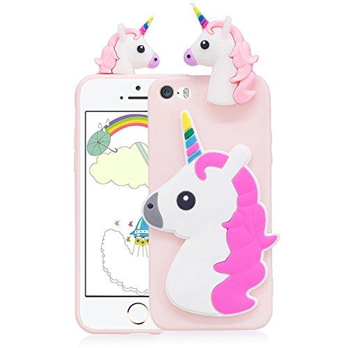 Cover iPhone 5s Custodia iphone 5 Silicone 3D Cartoon Leton Morbido TPU Gel Case per Apple iPhone 5s / 5 / SE (4.0 pollici) Ultra Sottile Flessibile Satinato Gomma Caso Anti Graffio Antiurto Protettiv Unicorno Rosa