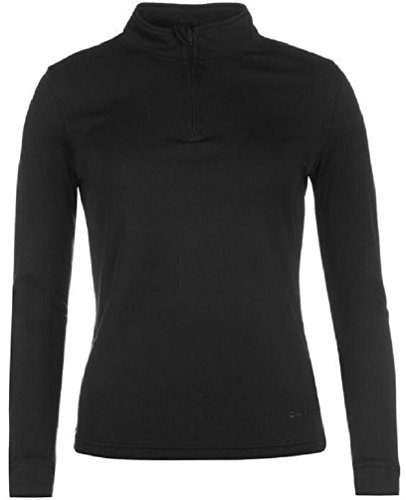 Campri Damen Thermal Ski Shirt Thermo Langarm Leicht Oberteil 1/4 Zip Schwarz 16 (XL)