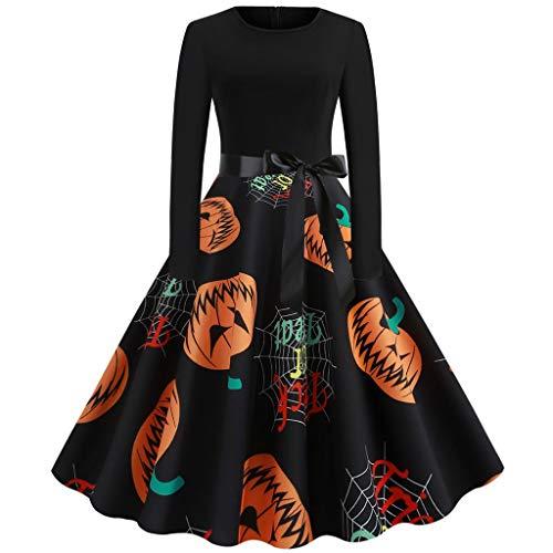 Damen 1950er Vintage Cocktailkleid,Kürbis Drucken Kleider,Einfache Halloween Kostüm,Schöne 50er Jahre -Abendkleider-Hausfrau Schwingen Kleid Faltenrock-Ballkleid-Cocktailkleid (Selbstgemachte Minion Kostüm)