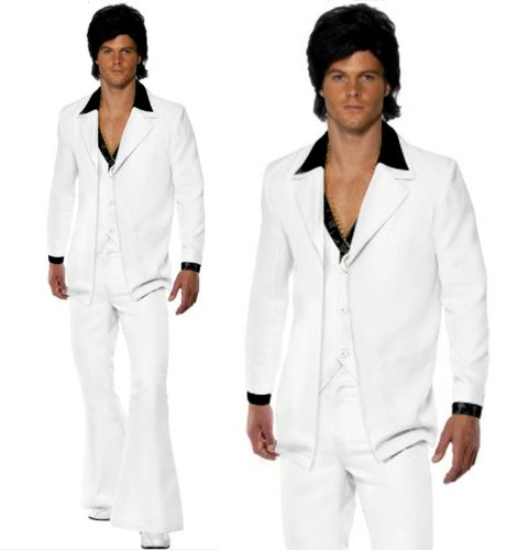 Kostüm Anzug Weißen Disco Mens - Mens 70s 80s Saturday Night Fever Disco White Flares Suit Fancy Dress Costume LARGE