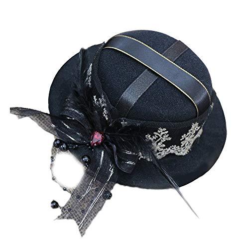 Hut Mini Top Hat Zubehör Zubehör Black and White Hut (Farbe : Schwarz, Größe : 28-30cm)