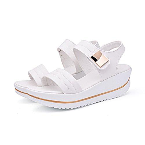 Damen Sandalen Keilabsatz Anti-Rutsche Dicke Sohle Aufzug Klettverschluss Einfache Sommer Freizeit Römersandalen Weiß