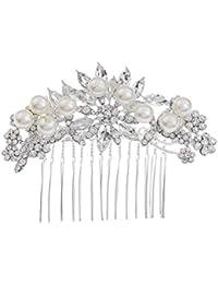 Frcolor 2 unids novia peinetas de pelo de perlas de cristal joyería del pelo insertado peine tocado accesorios del vestido de boda