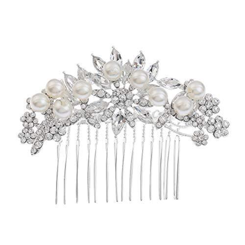 frcolor 2Braut Haarkamm Perle Kristall Haar steckt Haarkamm Kopfschmuck Hochzeit Kleid Zubehör