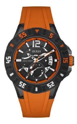 Guess Magnum W0034G8 - Reloj analógico de cuarzo para hombre, correa de silicona color naranja