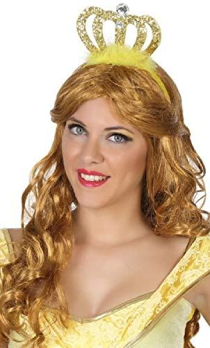 Fancy Me Damen Teenager Mädchen Gold glitzernde Prinzessin Krone Haarband Stirnband Buch Tag Junggesellinnenabschied Kostüm Zubehör