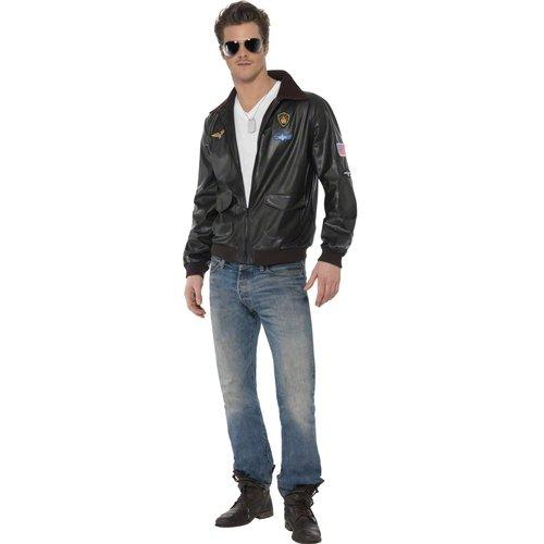 Karneval Herren Kostüm Top Gun Jacke schwarze Bomberjacke Größe M