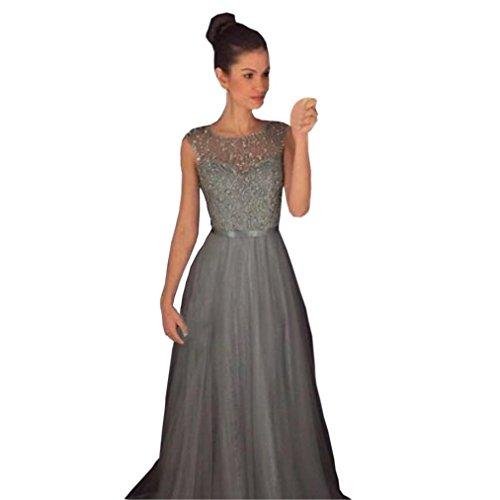 Kleider Damen Elegant LHWY Frauen Cocktailkleid Rundhalsausschnitt ärmellose Mode Formale Hochzeit Brautjungfer Lange Abendkleid Ball Kleid Grau