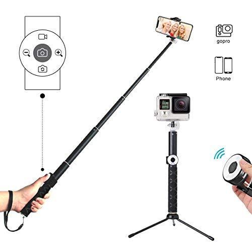 Perche Selfie Bluetooth, Hizek Selfie Stick Trépied avec Télécommande Universel Sans Fil Perche à Selfie Obturateur Télécommande Extensible Monopode Alliage d'Aluminium 270°Rotation