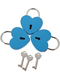 MagiDeal Set Of 3PCS Vintage Heart Shape Padlock With Key Backpack Travel Gym Supplies Travel Accessory Blue