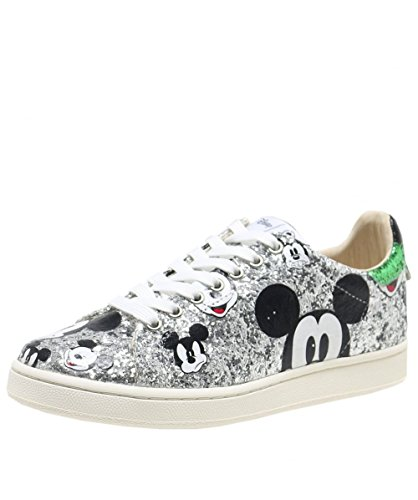 MOA Master of Arts Donna MD148 Silver Sneakers Argento-Verde Glitter Spring-Summer 2018