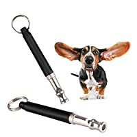 HAUOTCCO Dog Whistle Professional Ultrasonic Dog Training Whistle With Lanyard And Adjustable Frequencies Recall And Stop Barking Control (2 pack)