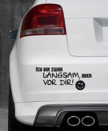 (GRAZDesign 740002_10_AF070 Auto-Aufkleber Tattoo für Auto lustiges Spruch Ich Bin Zwar langsam Smiley | Heckscheiben-Aufkleber Selbstklebend (24x10cm//070 Schwarz))