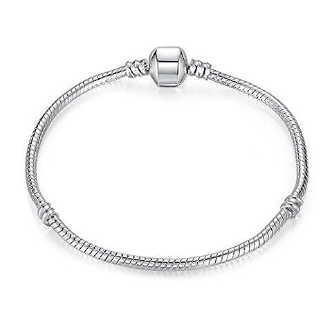 Bracelet argent pour breloques européennes de style Pandora, mesurant 17