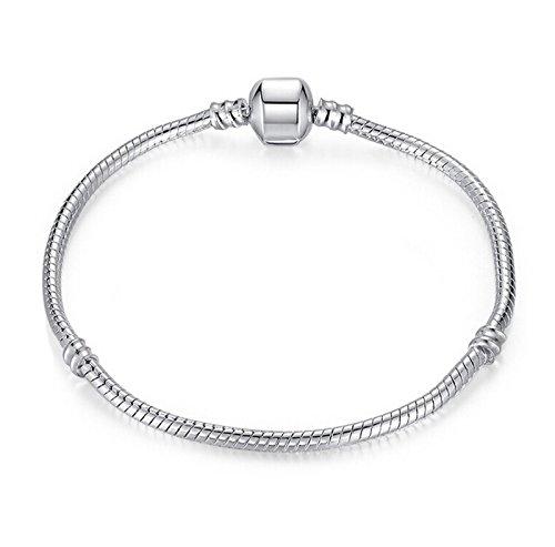 Bracelet argent pour breloques européennes de style Pandora, mesurant 17 à 21 cm et présenté dans un coffret-cadeau par Truly Charming®