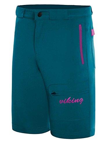 Viking Kurze Hose Damen - Outdoor Short für Trekking, Radfahren, Wandern - Schnelltrocknend und Elastisch - inkl. Gürtel - Dolomite Lady, Türkis, XL