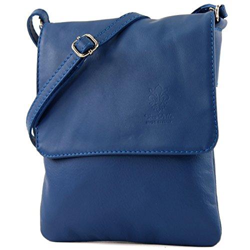 modamoda de - ital. Ledertasche Schultertasche Umhängetasche Citytasche klein Damen T34 Blau