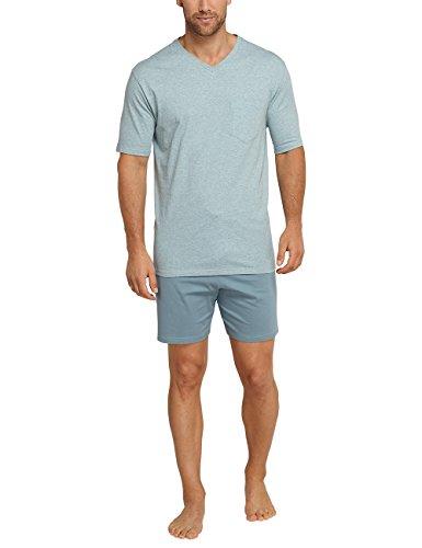 Schiesser Herren Zweiteiliger Schlafanzug Anzug Kurz Blau (Türkis-Mel. 826)