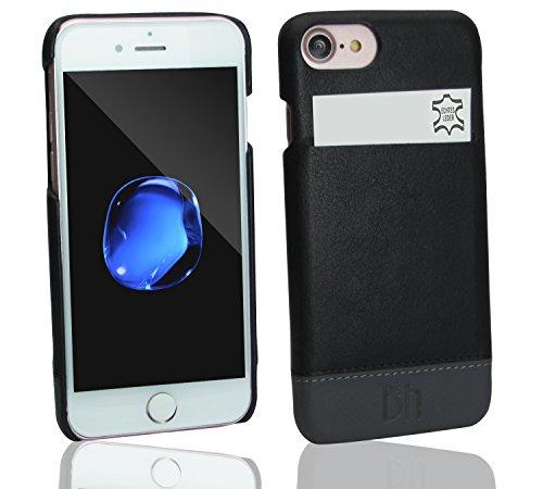 bell & head iPhone 7 Backcover Case Rush aus Echtleder - Handyhülle aus echtem Leder für Das Original iPhone 7 (4.7 Zoll) - extra dünne Ledertasche in schwarz-grau