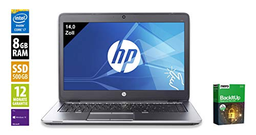 HP EliteBook 840 G3 | Notebook | Laptop | 14,0 Zoll Touch (1920x1080) | Intel Core i7-6600U @ 2,6 GHz | 8GB DDR4 RAM | 500GB SSD | Webcam | Windows 10 Pro (Zertifiziert und Generalüberholt) (Akku 500 Hp)
